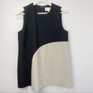 Hugo Boss cream and black sleeveless blouse